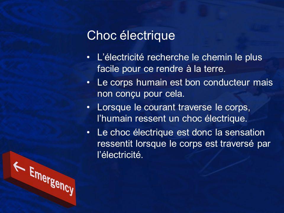 Choc électrique Lélectricité recherche le chemin le plus facile pour ce rendre à la terre. Le corps humain est bon conducteur mais non conçu pour cela