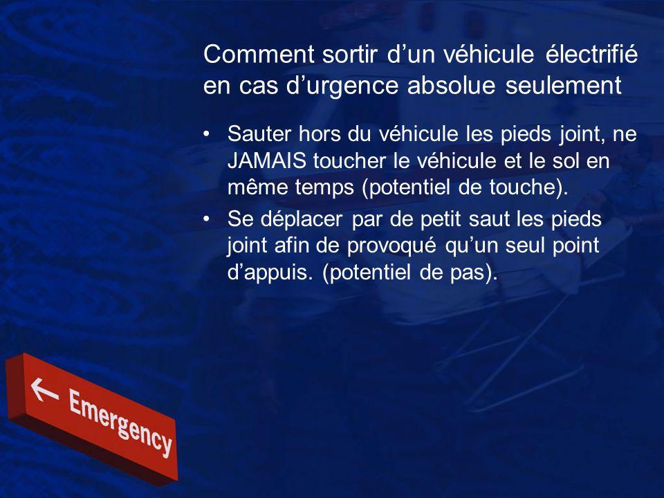 Comment sortir dun véhicule électrifié en cas durgence absolue seulement Sauter hors du véhicule les pieds joint, ne JAMAIS toucher le véhicule et le