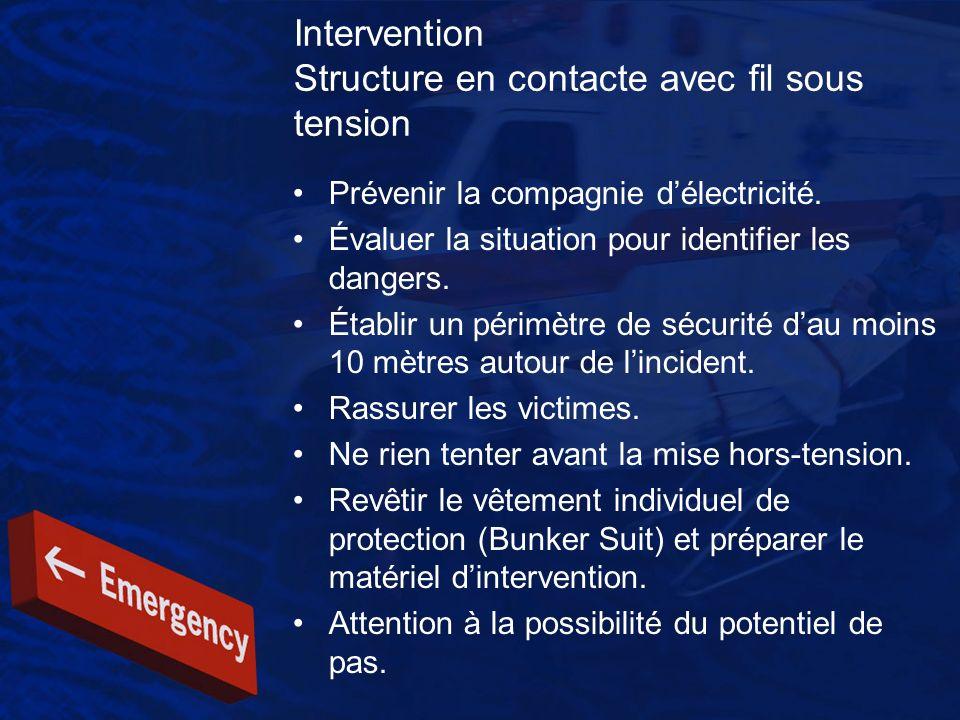Intervention Structure en contacte avec fil sous tension Prévenir la compagnie délectricité. Évaluer la situation pour identifier les dangers. Établir