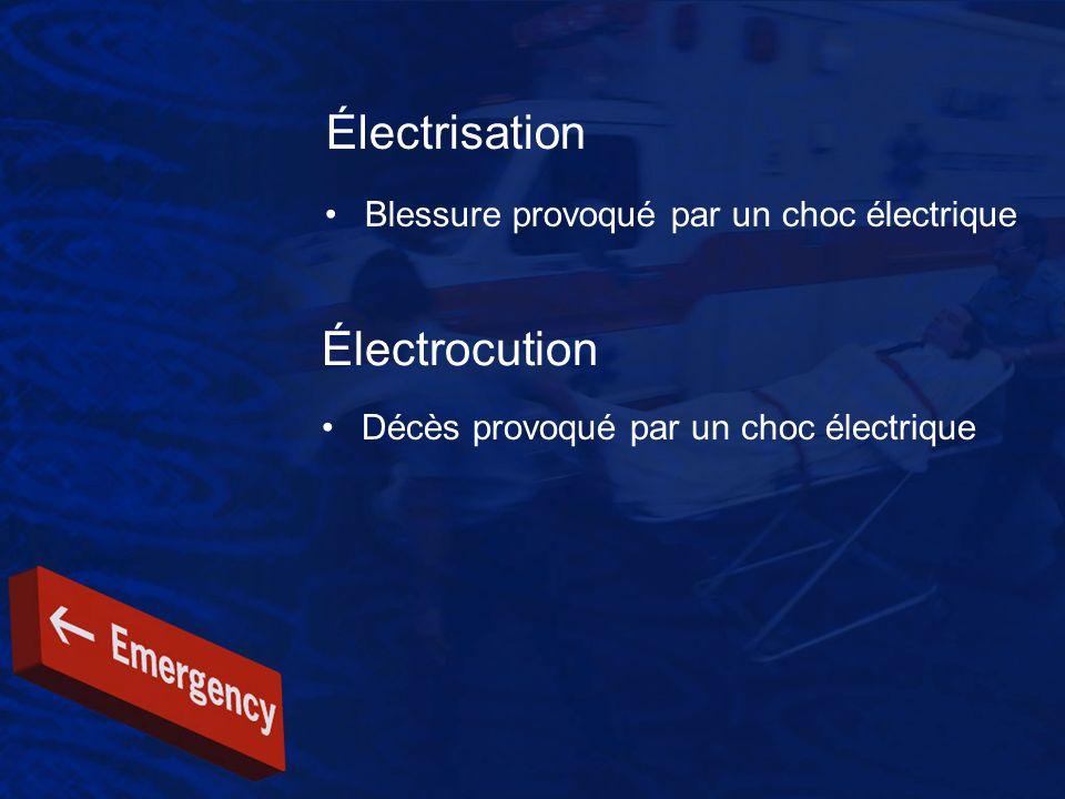 Électrisation Blessure provoqué par un choc électrique Électrocution Décès provoqué par un choc électrique