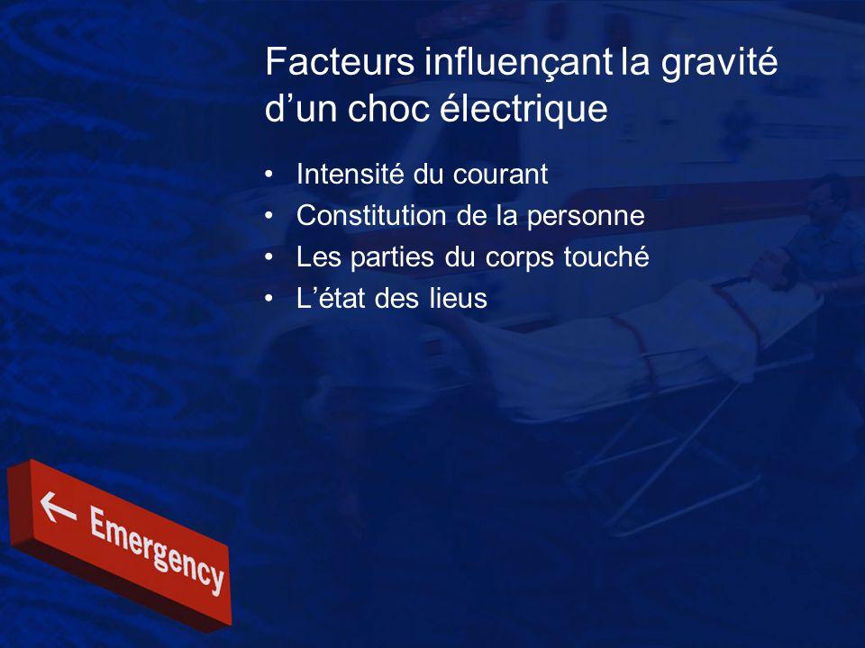 Facteurs influençant la gravité dun choc électrique Intensité du courant Constitution de la personne Les parties du corps touché Létat des lieus