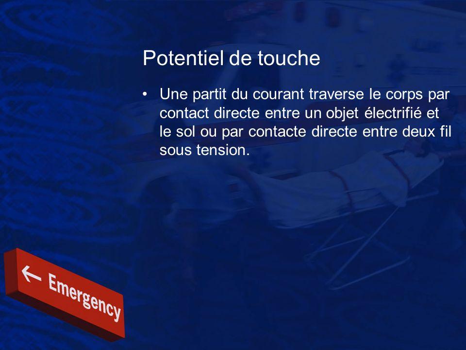 Potentiel de touche Une partit du courant traverse le corps par contact directe entre un objet électrifié et le sol ou par contacte directe entre deux
