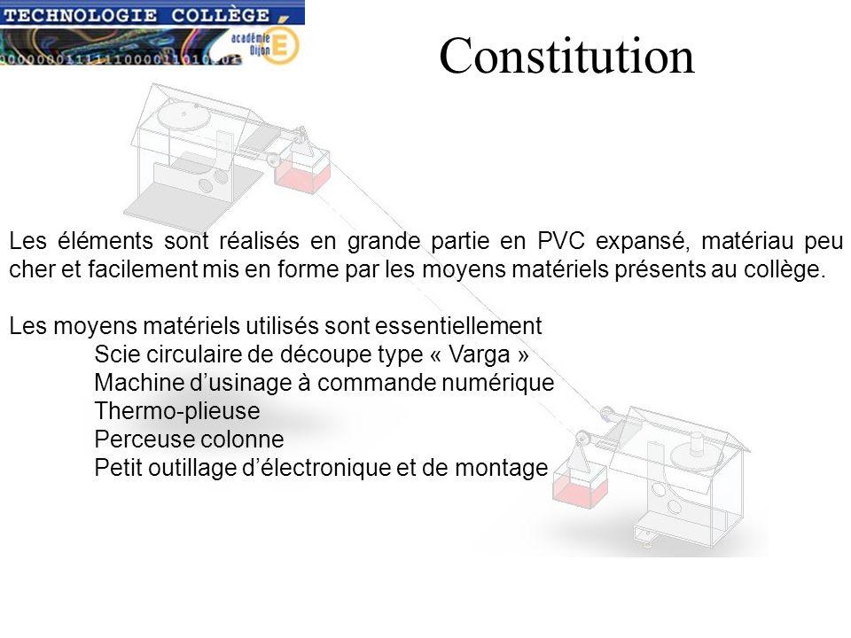 Constitution Les éléments sont réalisés en grande partie en PVC expansé, matériau peu cher et facilement mis en forme par les moyens matériels présents au collège.