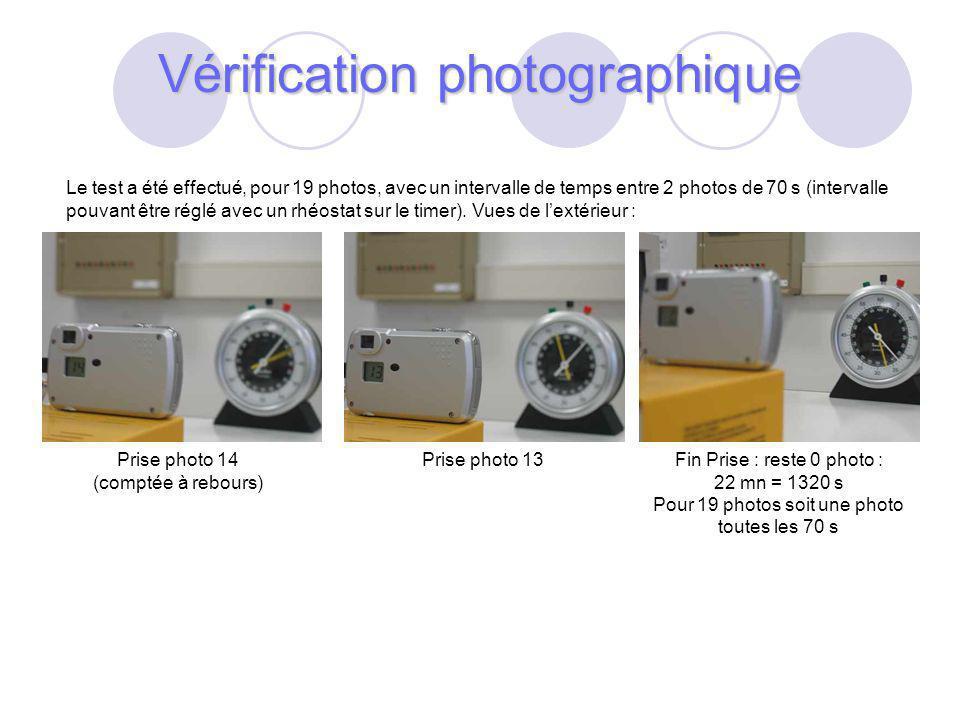 38 Le test a été effectué, pour 19 photos, avec un intervalle de temps entre 2 photos de 70 s (intervalle pouvant être réglé avec un rhéostat sur le timer).