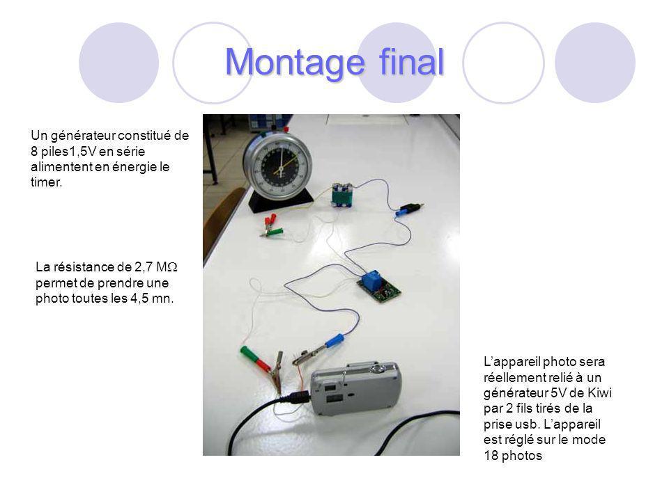 Un générateur constitué de 8 piles1,5V en série alimentent en énergie le timer.