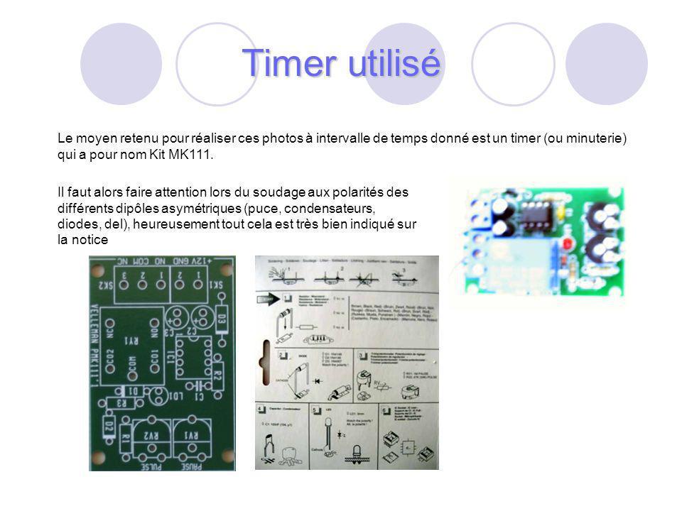 38 Le moyen retenu pour réaliser ces photos à intervalle de temps donné est un timer (ou minuterie) qui a pour nom Kit MK111.