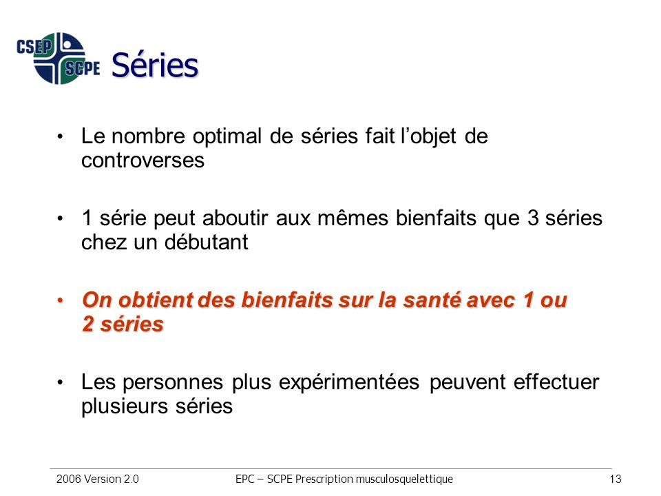2006 Version 2.013 Séries Le nombre optimal de séries fait lobjet de controverses 1 série peut aboutir aux mêmes bienfaits que 3 séries chez un débuta