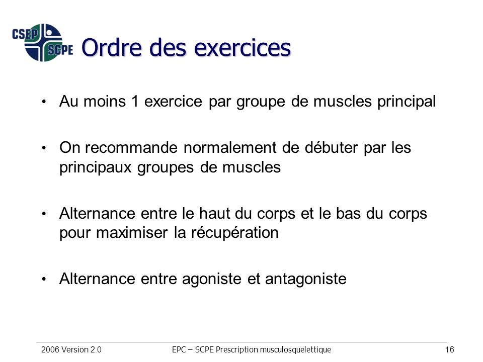 2006 Version 2.016 Ordre des exercices Au moins 1 exercice par groupe de muscles principal On recommande normalement de débuter par les principaux gro