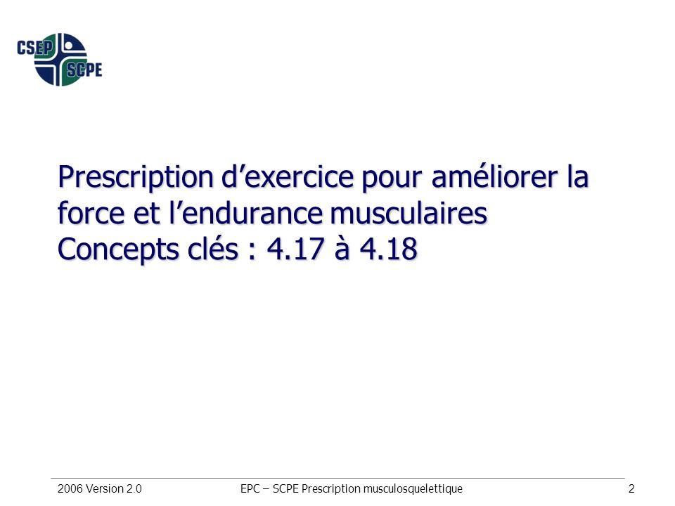 2006 Version 2.02 Prescription dexercice pour améliorer la force et lendurance musculaires Concepts clés : 4.17 à 4.18 EPC – SCPE Prescription musculo