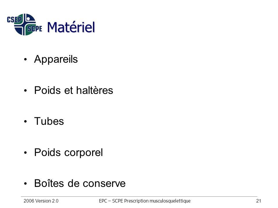 2006 Version 2.021 Matériel Appareils Poids et haltères Tubes Poids corporel Boîtes de conserve EPC – SCPE Prescription musculosquelettique