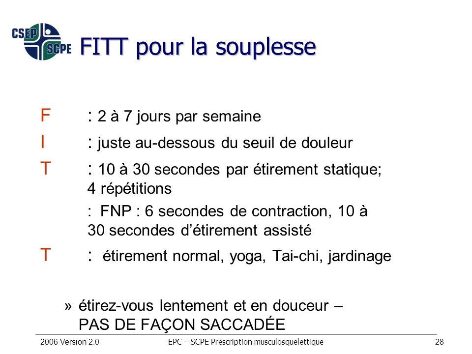 2006 Version 2.028 FITT pour la souplesse F : 2 à 7 jours par semaine I : juste au-dessous du seuil de douleur T : 10 à 30 secondes par étirement stat