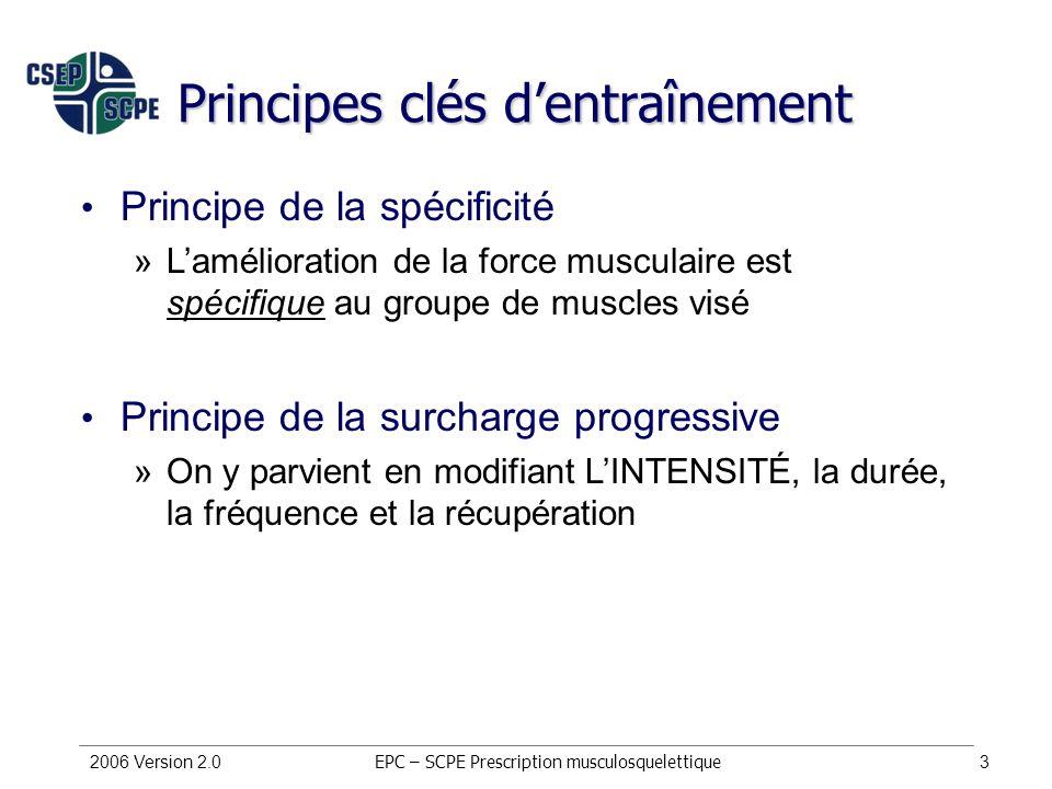 2006 Version 2.03 Principes clés dentraînement EPC – SCPE Prescription musculosquelettique Principe de la spécificité »Lamélioration de la force muscu