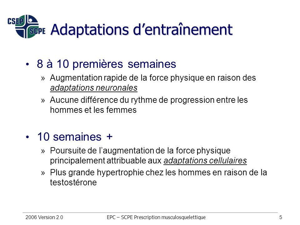 2006 Version 2.05 Adaptations dentraînement 8 à 10 premières semaines »Augmentation rapide de la force physique en raison des adaptations neuronales »