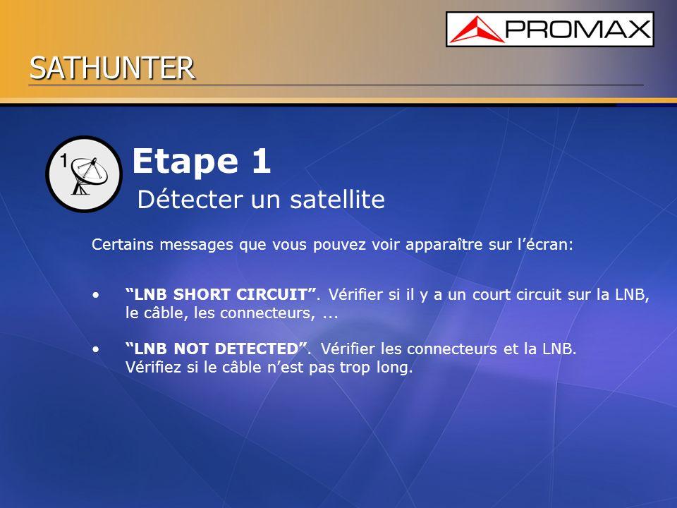 SATHUNTER Etape 1 Certains messages que vous pouvez voir apparaître sur lécran: Détecter un satellite LNB SHORT CIRCUIT. Vérifier si il y a un court c
