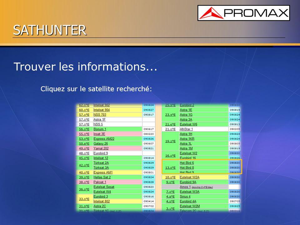 SATHUNTER Trouver les informations... Cliquez sur le satellite recherché: