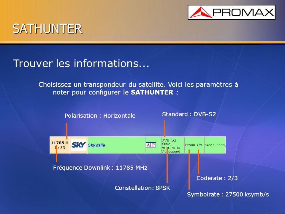 SATHUNTER Trouver les informations... Choisissez un transpondeur du satellite. Voici les paramètres à noter pour configurer le SATHUNTER : Polarisatio
