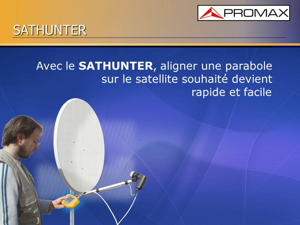 SATHUNTER Avec le SATHUNTER, aligner une parabole sur le satellite souhaité devient rapide et facile
