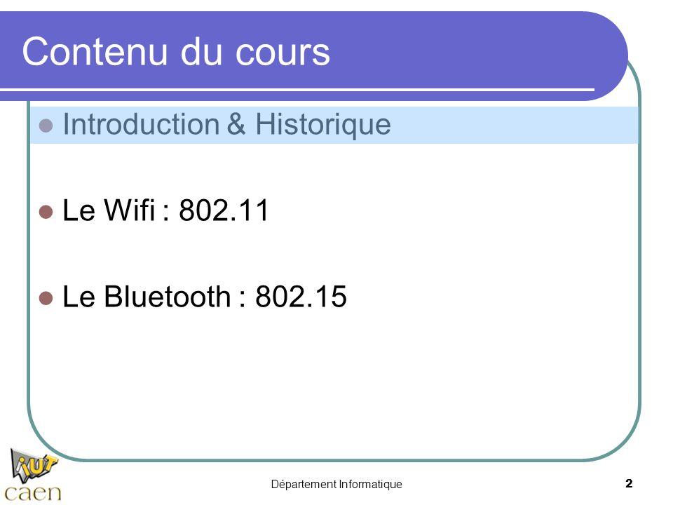 Département Informatique 2 Contenu du cours Introduction & Historique Le Wifi : 802.11 Le Bluetooth : 802.15