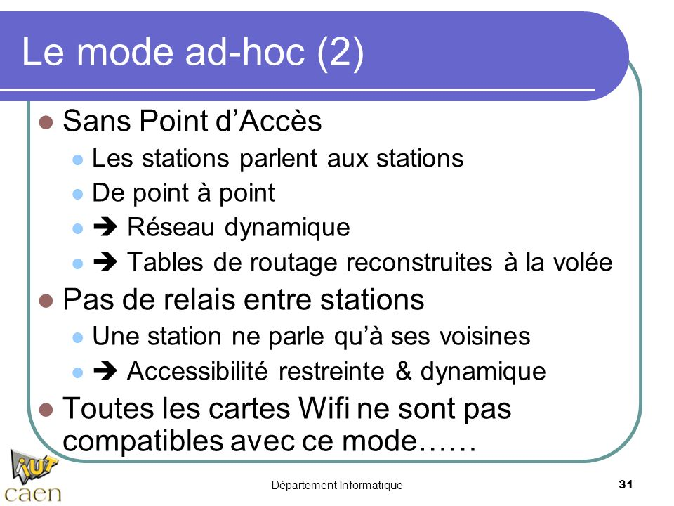 Département Informatique 31 Le mode ad-hoc (2) Sans Point dAccès Les stations parlent aux stations De point à point Réseau dynamique Tables de routage