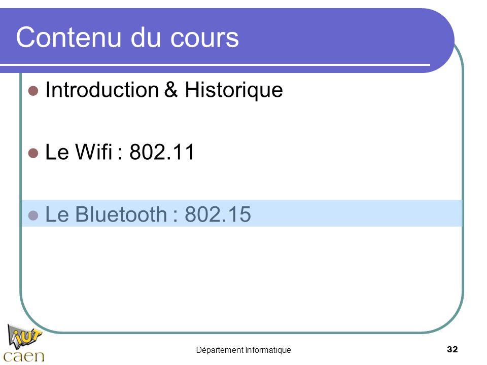 Département Informatique 32 Contenu du cours Introduction & Historique Le Wifi : 802.11 Le Bluetooth : 802.15