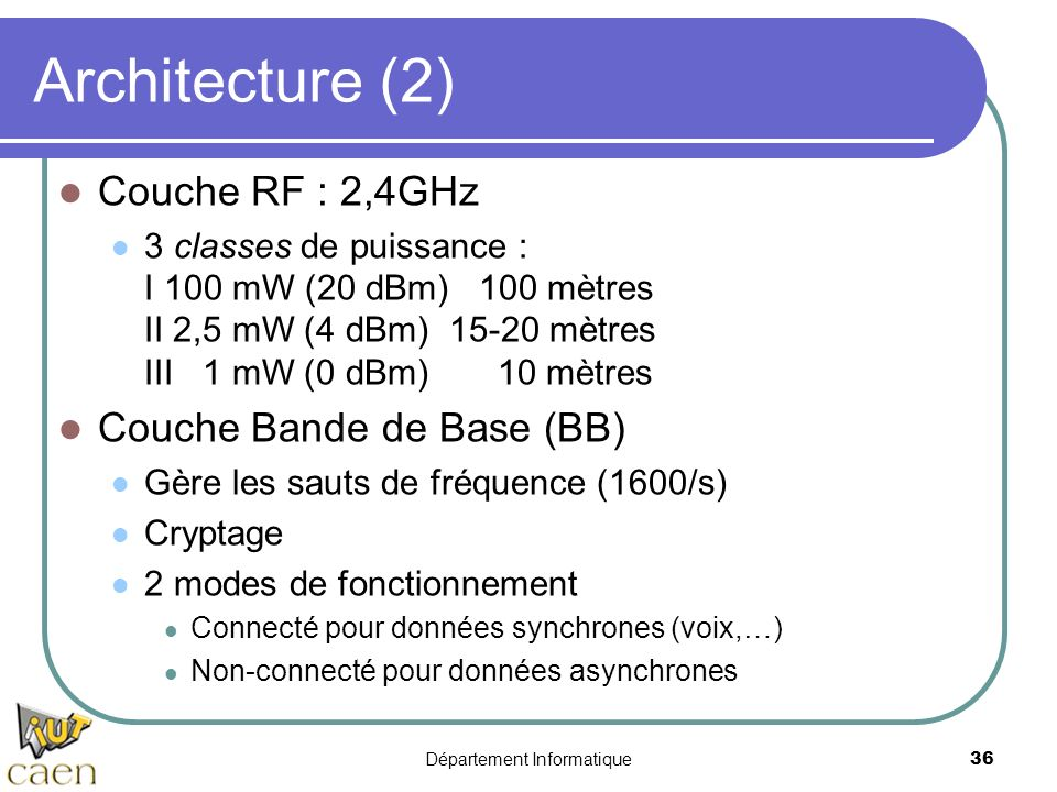 Département Informatique 36 Architecture (2) Couche RF : 2,4GHz 3 classes de puissance : I 100 mW (20 dBm) 100 mètres II 2,5 mW (4 dBm) 15-20 mètres I