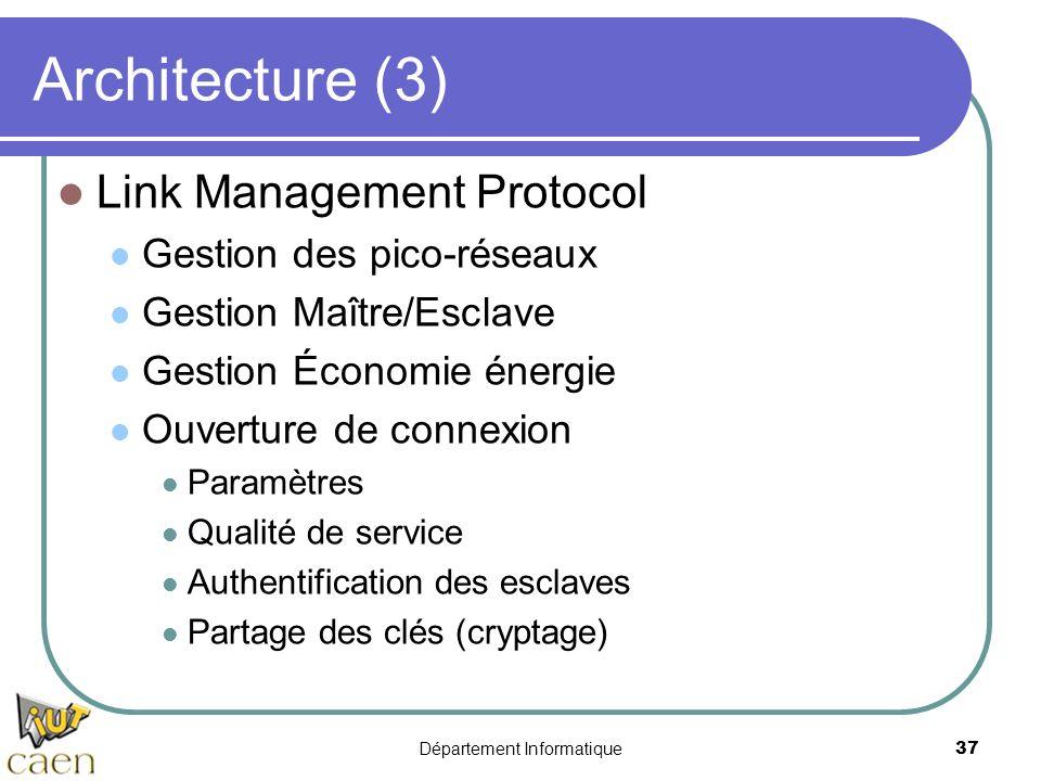 Département Informatique 37 Architecture (3) Link Management Protocol Gestion des pico-réseaux Gestion Maître/Esclave Gestion Économie énergie Ouvertu