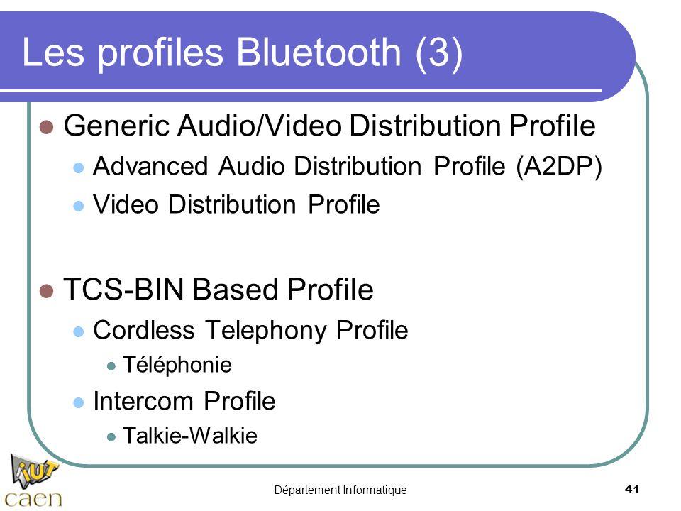 Département Informatique 41 Les profiles Bluetooth (3) Generic Audio/Video Distribution Profile Advanced Audio Distribution Profile (A2DP) Video Distr