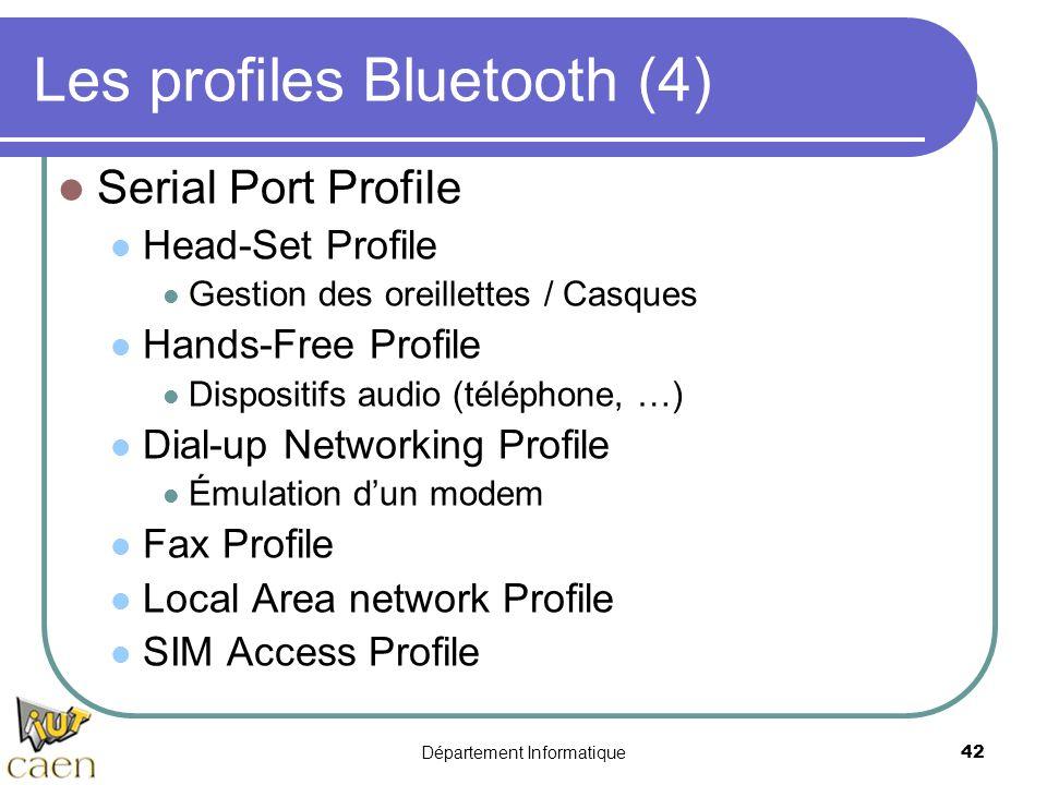 Département Informatique 42 Les profiles Bluetooth (4) Serial Port Profile Head-Set Profile Gestion des oreillettes / Casques Hands-Free Profile Dispo