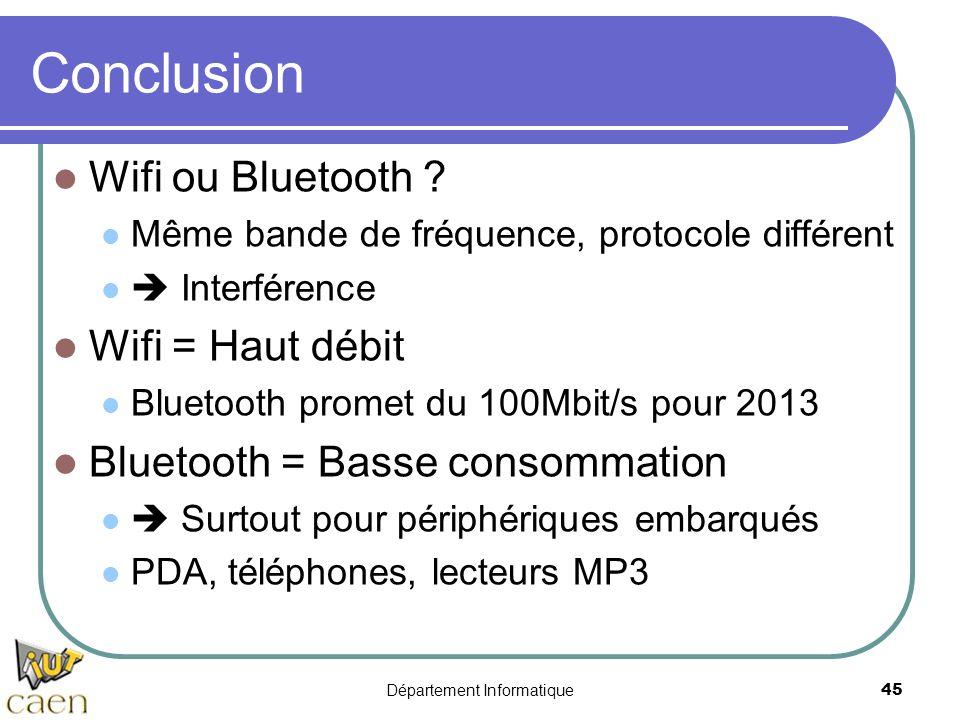 Département Informatique 45 Conclusion Wifi ou Bluetooth ? Même bande de fréquence, protocole différent Interférence Wifi = Haut débit Bluetooth prome
