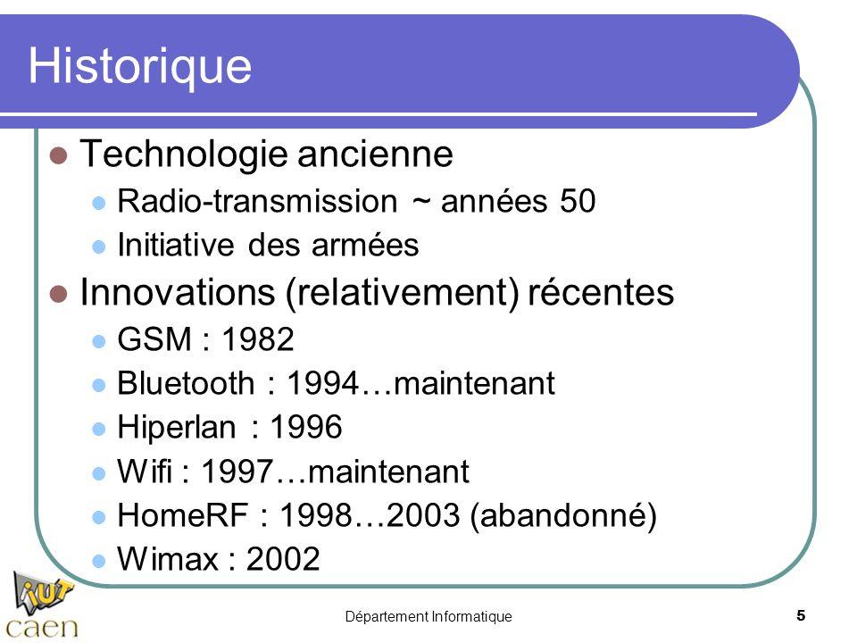 Département Informatique 5 Historique Technologie ancienne Radio-transmission ~ années 50 Initiative des armées Innovations (relativement) récentes GS