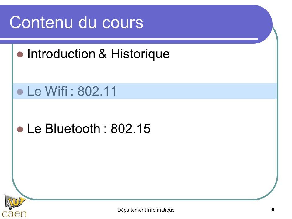 Département Informatique 6 Contenu du cours Introduction & Historique Le Wifi : 802.11 Le Bluetooth : 802.15
