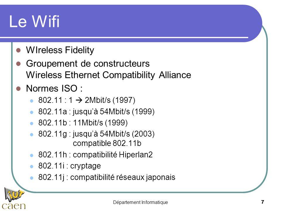 Département Informatique 7 Le Wifi WIreless Fidelity Groupement de constructeurs Wireless Ethernet Compatibility Alliance Normes ISO : 802.11 : 1 2Mbi