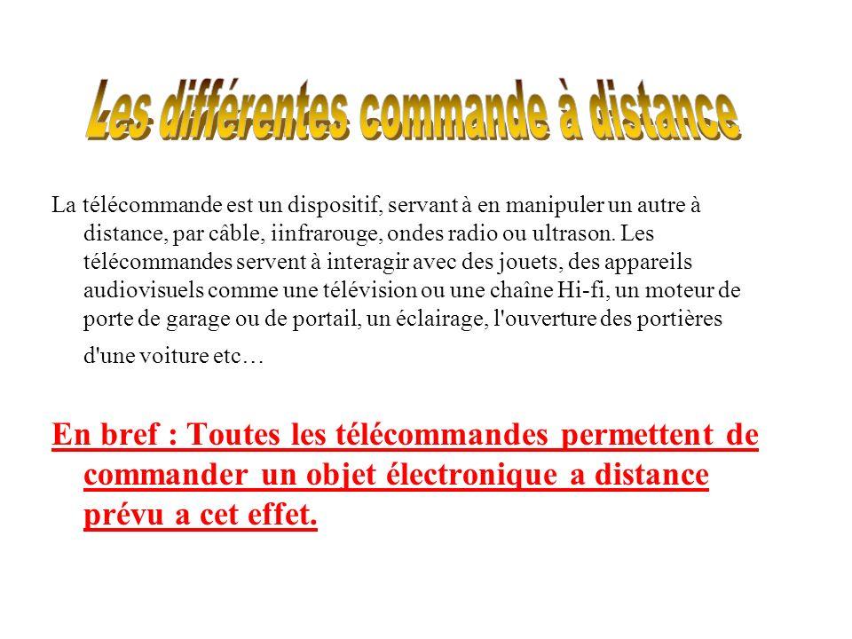 La télécommande est un dispositif, servant à en manipuler un autre à distance, par câble, iinfrarouge, ondes radio ou ultrason. Les télécommandes serv