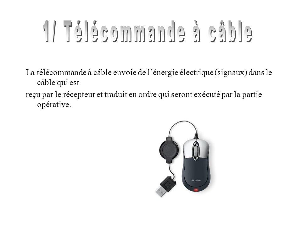 La télécommande à câble envoie de lénergie électrique (signaux) dans le câble qui est reçu par le récepteur et traduit en ordre qui seront exécuté par