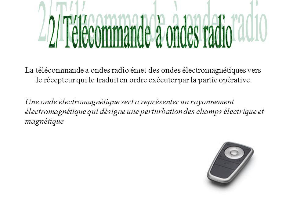 La télécommande a ondes radio émet des ondes électromagnétiques vers le récepteur qui le traduit en ordre exécuter par la partie opérative. Une onde é