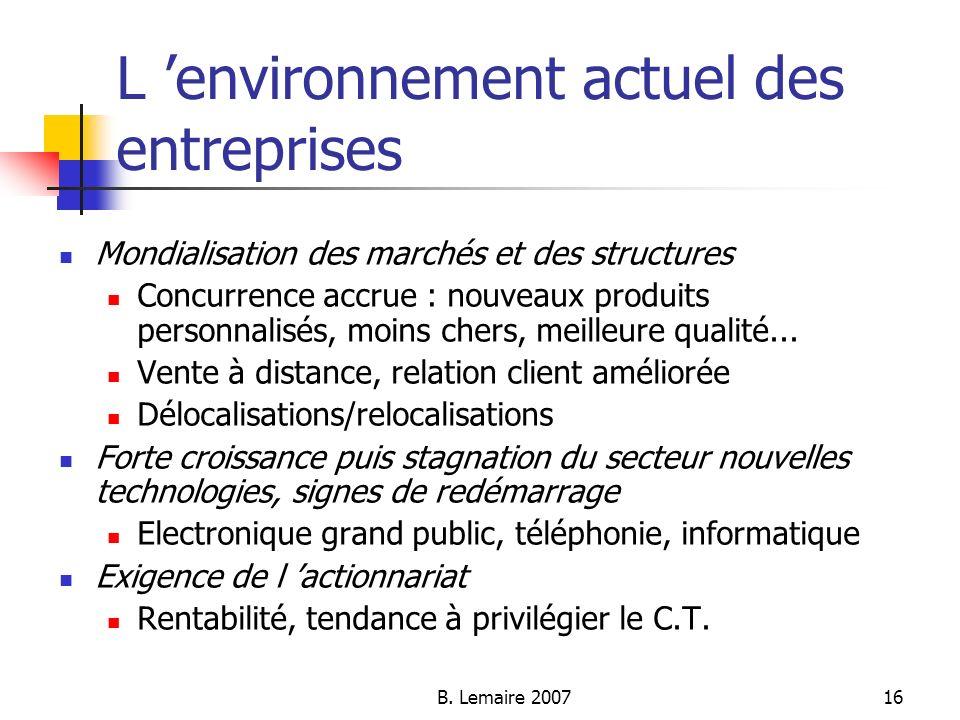 B. Lemaire 200716 L environnement actuel des entreprises Mondialisation des marchés et des structures Concurrence accrue : nouveaux produits personnal