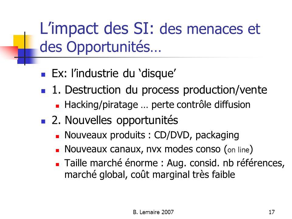 B. Lemaire 200717 Limpact des SI: des menaces et des Opportunités… Ex: lindustrie du disque 1. Destruction du process production/vente Hacking/piratag