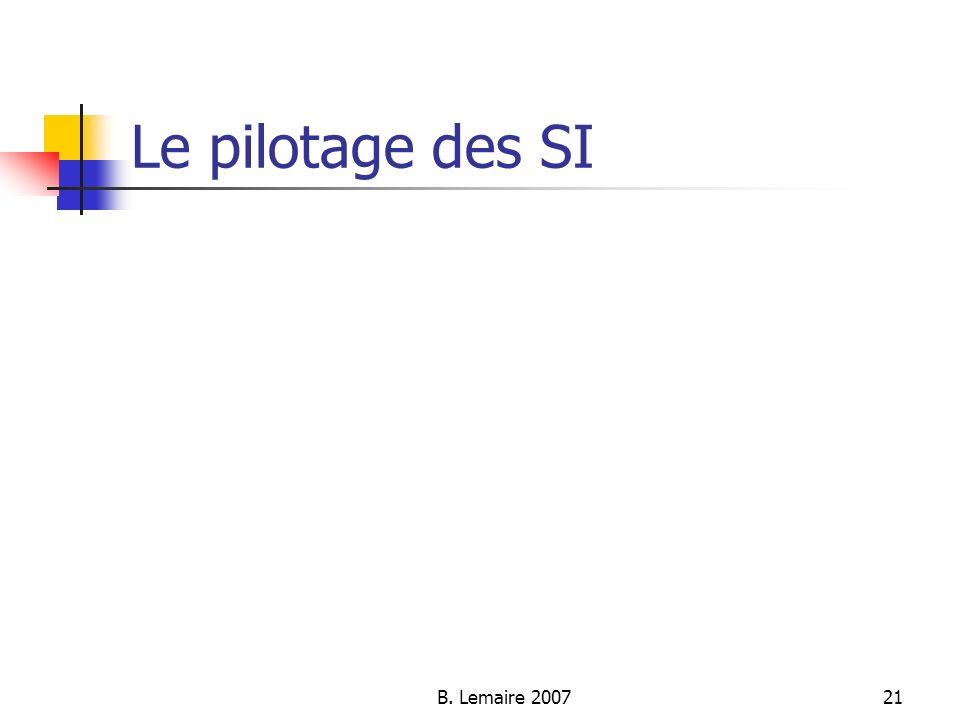 B. Lemaire 200721 Le pilotage des SI