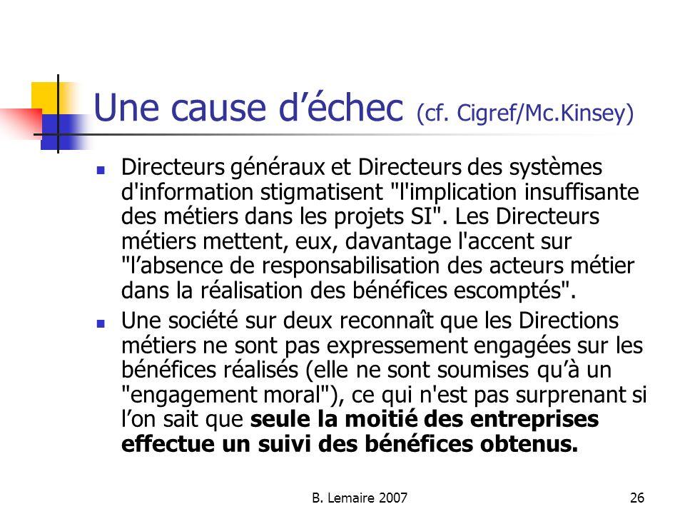 B. Lemaire 200726 Une cause déchec (cf. Cigref/Mc.Kinsey) Directeurs généraux et Directeurs des systèmes d'information stigmatisent