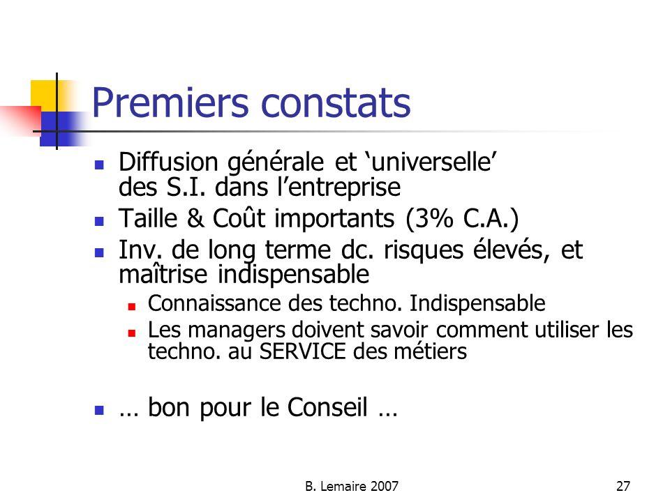 B. Lemaire 200727 Premiers constats Diffusion générale et universelle des S.I. dans lentreprise Taille & Coût importants (3% C.A.) Inv. de long terme