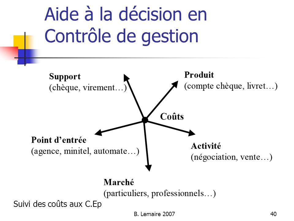 B. Lemaire 200740 Aide à la décision en Contrôle de gestion Suivi des coûts aux C.Ep
