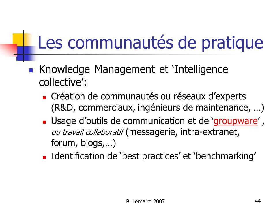 B. Lemaire 200744 Les communautés de pratique Knowledge Management et Intelligence collective: Création de communautés ou réseaux dexperts (R&D, comme