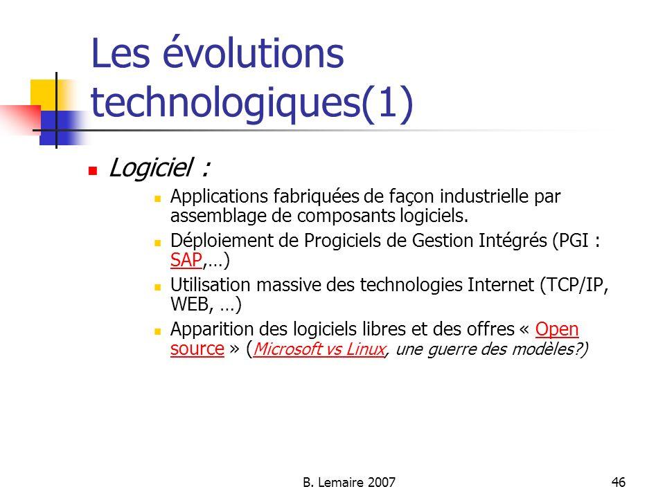 B. Lemaire 200746 Les évolutions technologiques(1) Logiciel : Applications fabriquées de façon industrielle par assemblage de composants logiciels. Dé