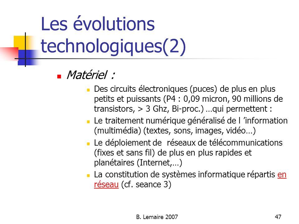 B. Lemaire 200747 Les évolutions technologiques(2) Matériel : Des circuits électroniques (puces) de plus en plus petits et puissants (P4 : 0,09 micron