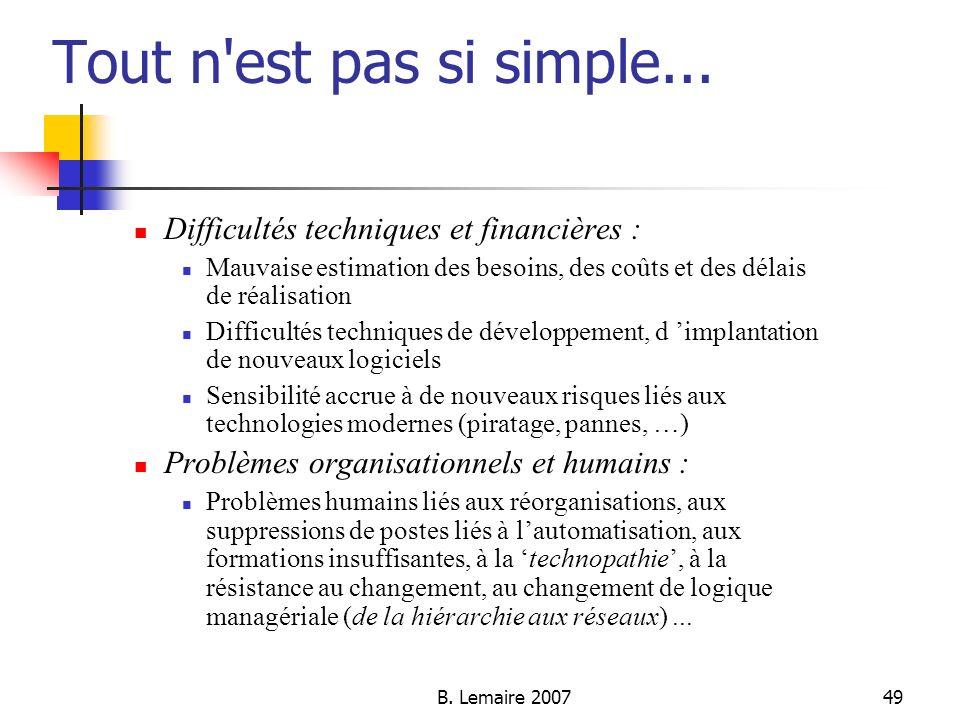 B. Lemaire 200749 Tout n'est pas si simple... Difficultés techniques et financières : Mauvaise estimation des besoins, des coûts et des délais de réal