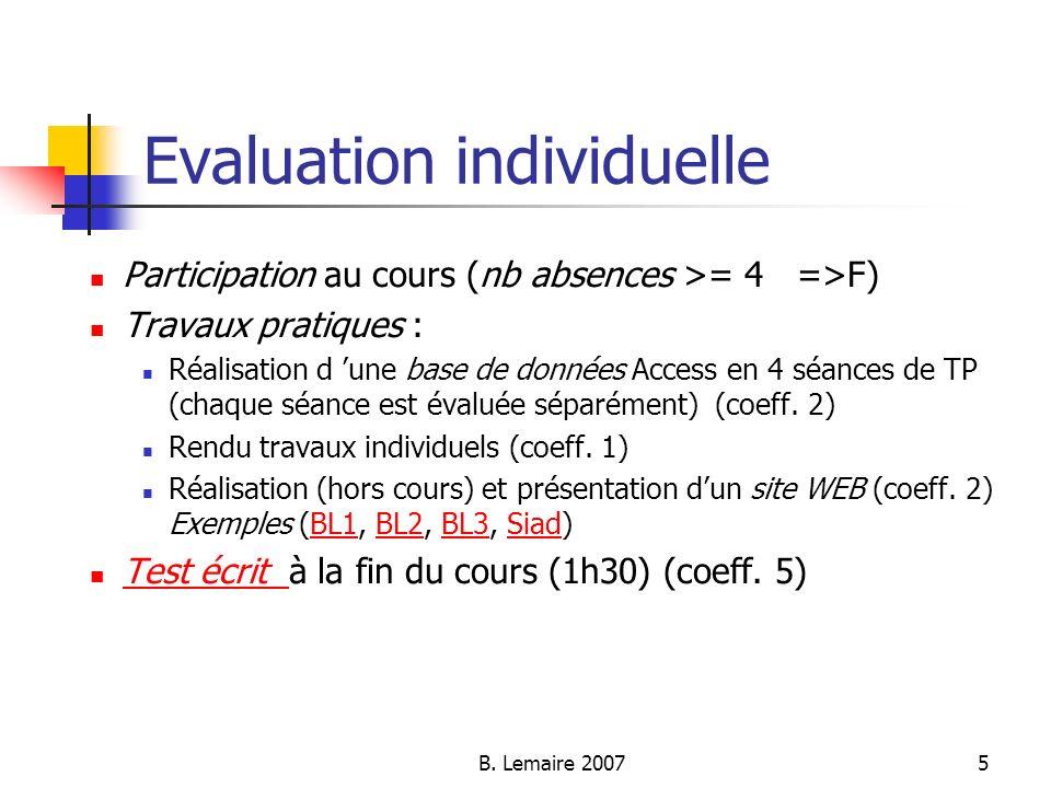 B. Lemaire 20075 Evaluation individuelle Participation au cours (nb absences >= 4 =>F) Travaux pratiques : Réalisation d une base de données Access en