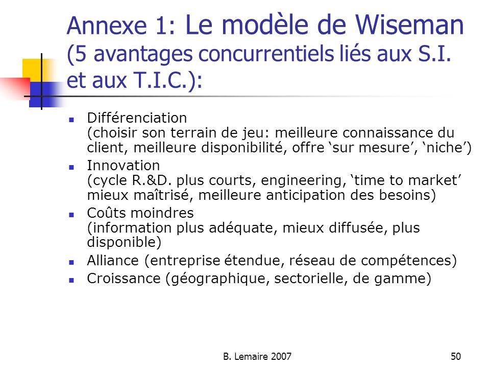 B. Lemaire 200750 Annexe 1: Le modèle de Wiseman (5 avantages concurrentiels liés aux S.I. et aux T.I.C.): Différenciation (choisir son terrain de jeu