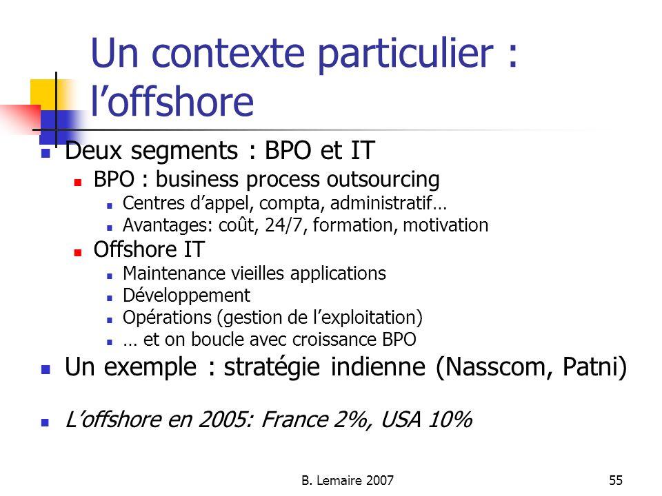 B. Lemaire 200755 Un contexte particulier : loffshore Deux segments : BPO et IT BPO : business process outsourcing Centres dappel, compta, administrat