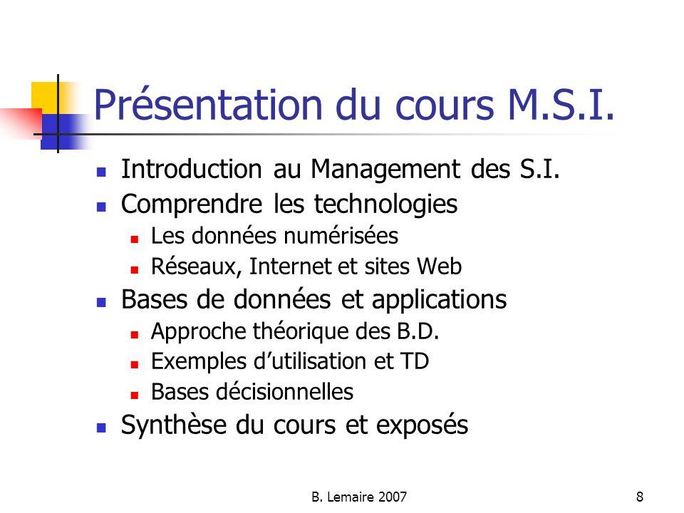 B. Lemaire 20078 Présentation du cours M.S.I. Introduction au Management des S.I. Comprendre les technologies Les données numérisées Réseaux, Internet