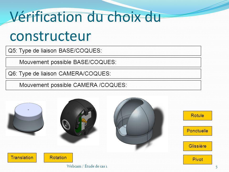 5Webcam / Étude de cas 1 Vérification du choix du constructeur Q5: Type de liaison BASE/COQUES: Mouvement possible CAMERA /COQUES: Q6: Type de liaison
